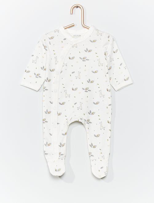 Pyjama en jersey éco-conçu                                                                                         blanc/girafe