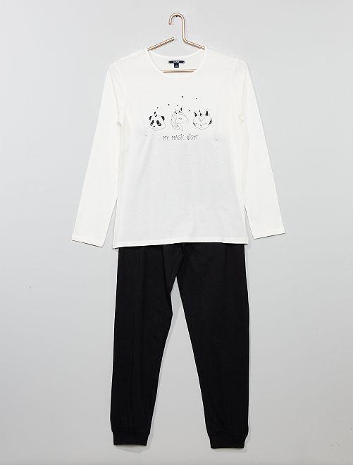 Pyjama en jersey                             écru/noir