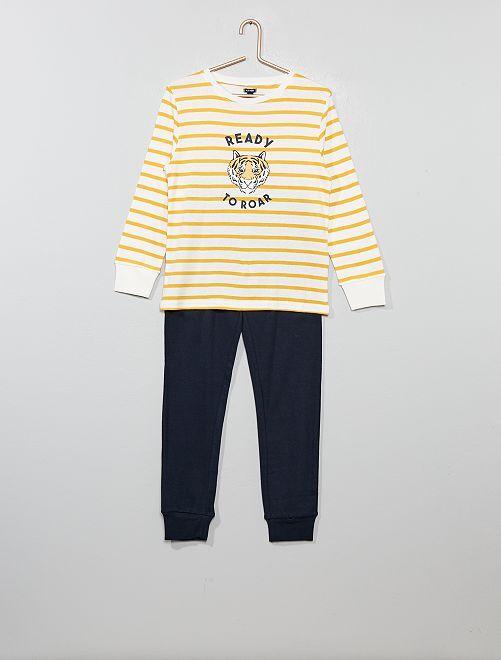 Pyjama en jersey imprimé                                                                 jaune/marine