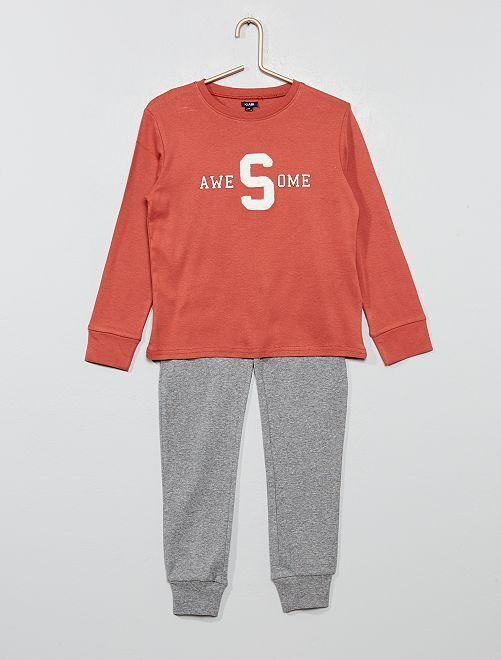 Pyjama en jersey imprimé                                                                                                     rose/gris