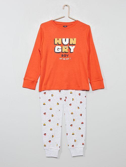 Pyjama en jersey imprimé                                                     rouge/gris