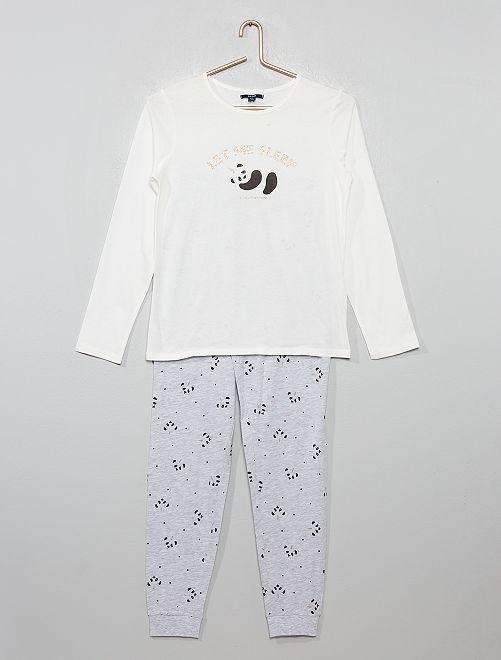 Pyjama en jersey 'panda' pailleté                                         blanc/gris