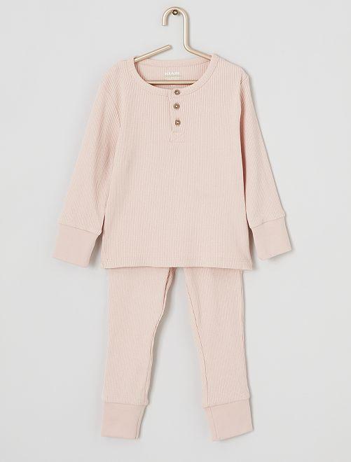 Pyjama en maille côtelée 'éco-conçu'                     rose clair