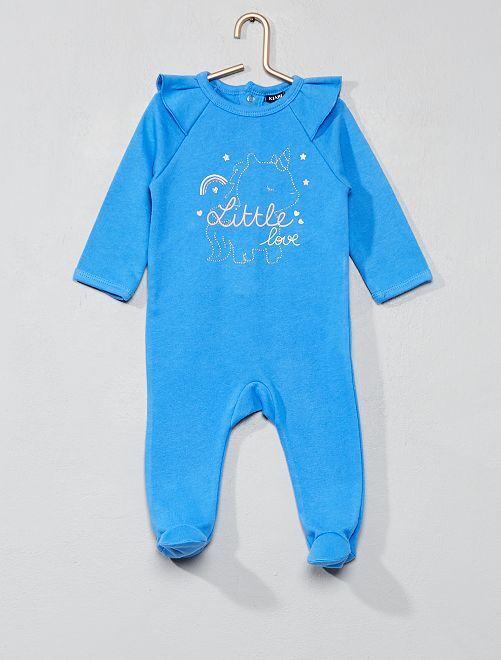 Pyjama en molleton à volants                                         bleu Bébé fille