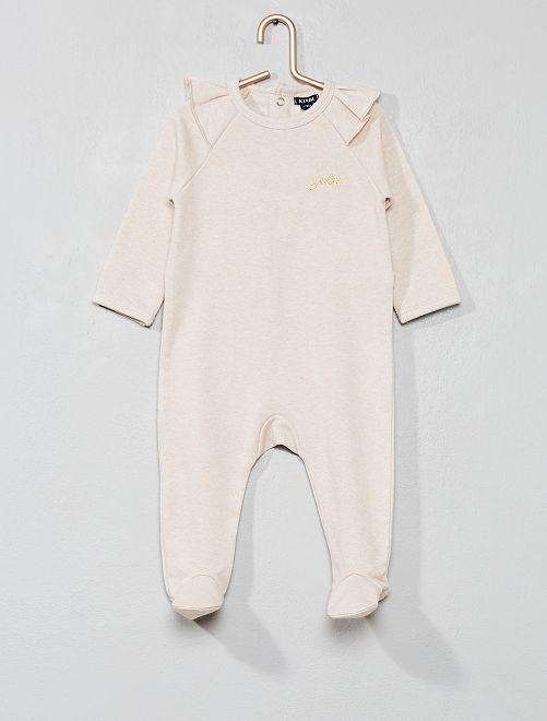 Pyjama en molleton à volants                                         rose/beige Bébé fille