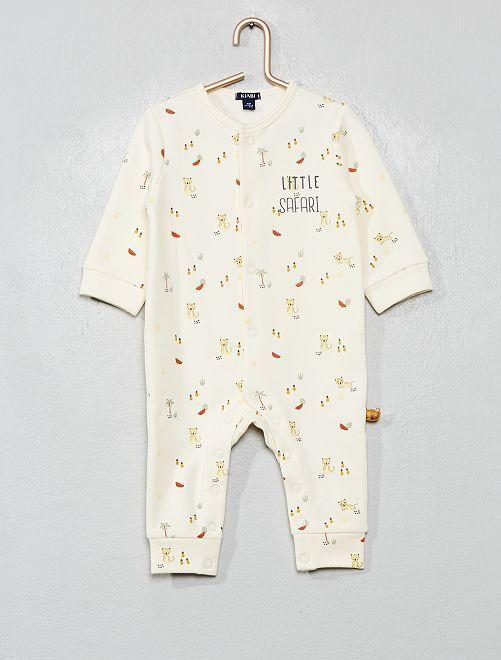 Pyjama en molleton imprimé thème 'safari'                             écru