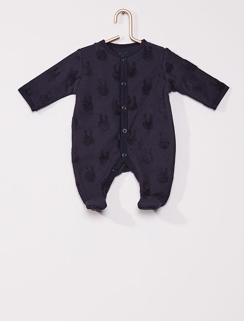 Pyjama en molleton 'lapin'                                         marine