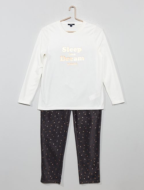 Pyjama en polaire                             blanc/gris