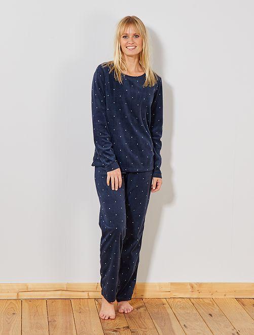 Pyjama en polaire                                                                 bleu foncé