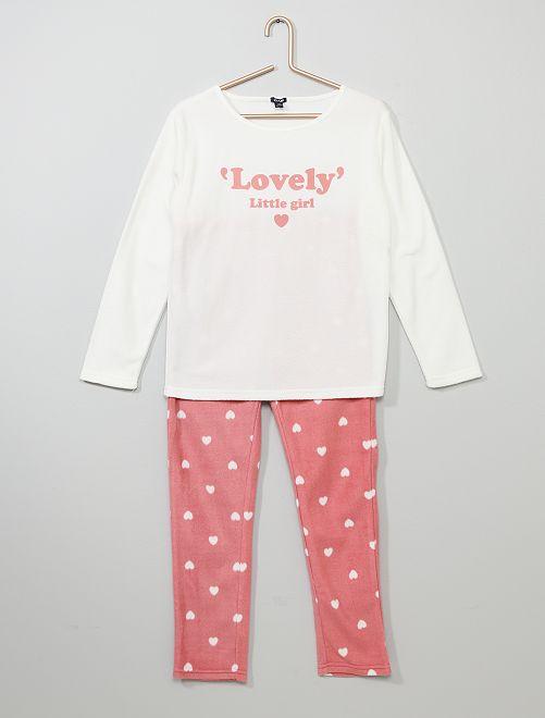 Pyjama en polaire 'cœurs'                                                                 écru/rose
