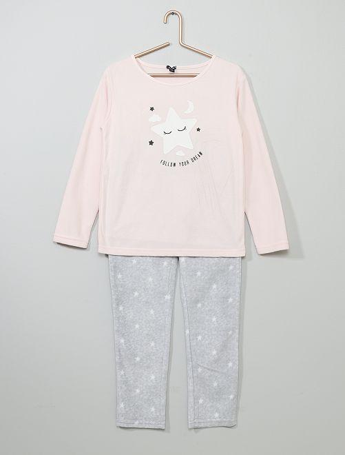 Pyjama en polaire 'étoile'                                                                 rose/gris chiné