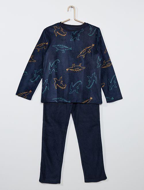 Pyjama en polaire imprimé                                                     bleu dinosoaure