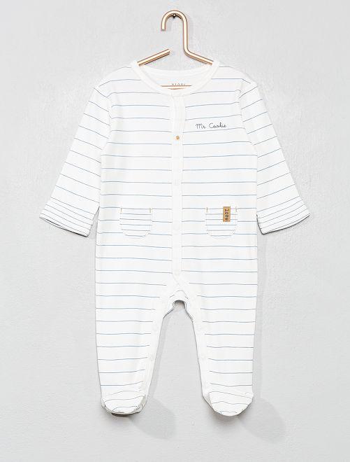 Pyjama en pur coton                             blanc rayé
