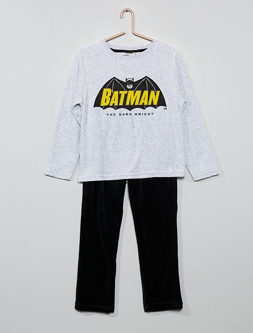 Pyjama en velours 'Batman'                             gris noir