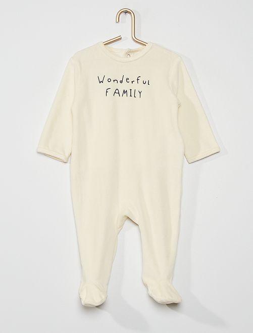 Pyjama en velours                                                                                         beige