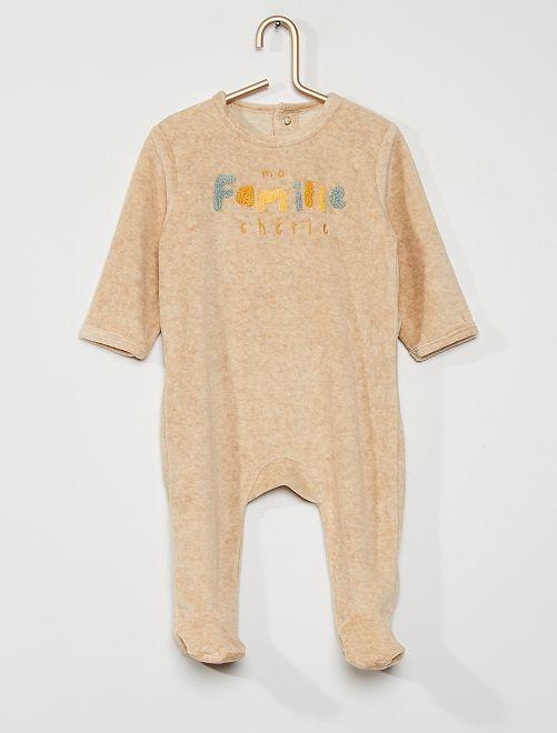 Pyjama en velours                                                                                                                                                                                                                                         beige chiné