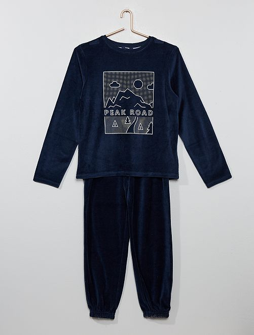Pyjama en velours                             bleu
