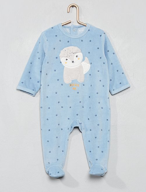 Pyjama en velours                                                                 bleu imprimé Bébé garçon