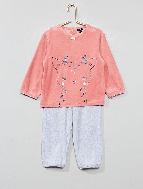 Pyjama en velours 'Cerf'                                                     rose Bébé fille