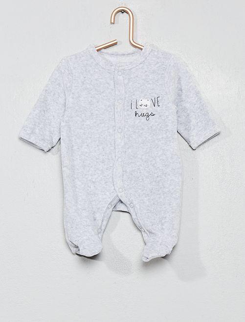 Pyjama en velours 'chat'                                                                             gris