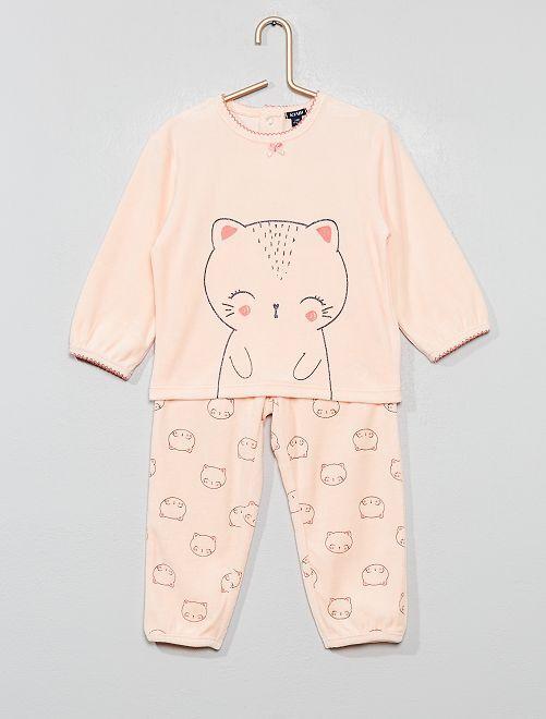 Pyjama en velours 'Chat'                                                     rose clair Bébé fille