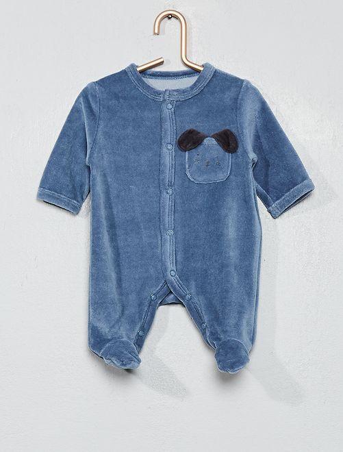 Pyjama en velours 'chien'                                                                             bleu