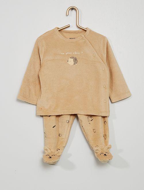 Pyjama en velours côtelé                                         beige