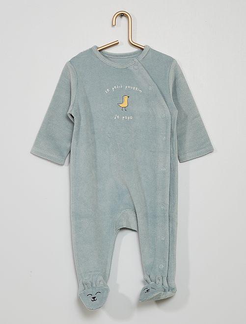 Pyjama en velours côtelé                                         bleu vert