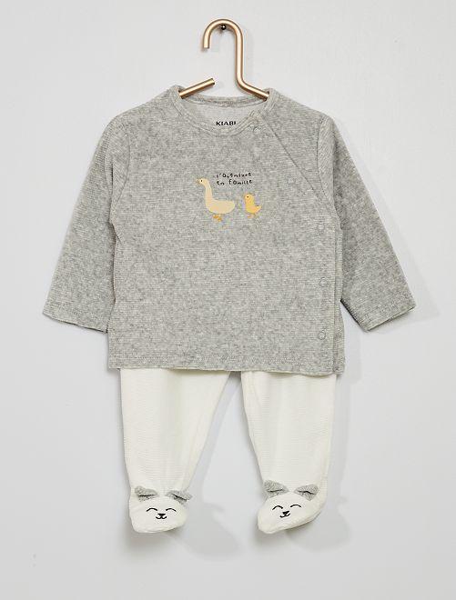 Pyjama en velours côtelé                                         gris chiné