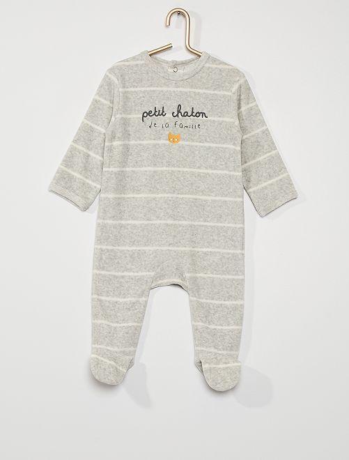 Pyjama en velours                                                                                                                                                                                                                                         gris