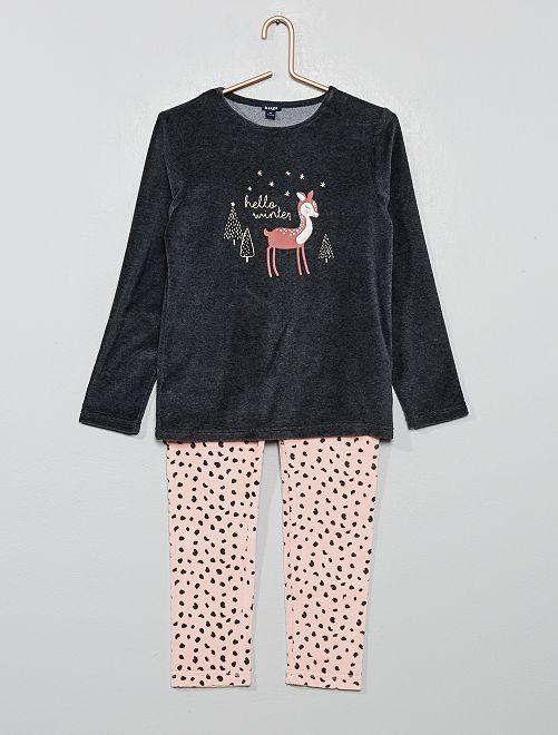 Pyjama en velours                                         gris foncé