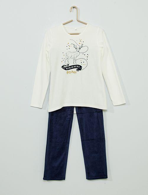 Pyjama en velours 'Harry Potter'                             beige/marine