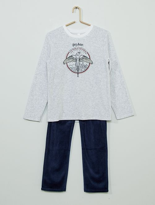 Pyjama en velours 'Harry Potter'                             gris/bleu marine