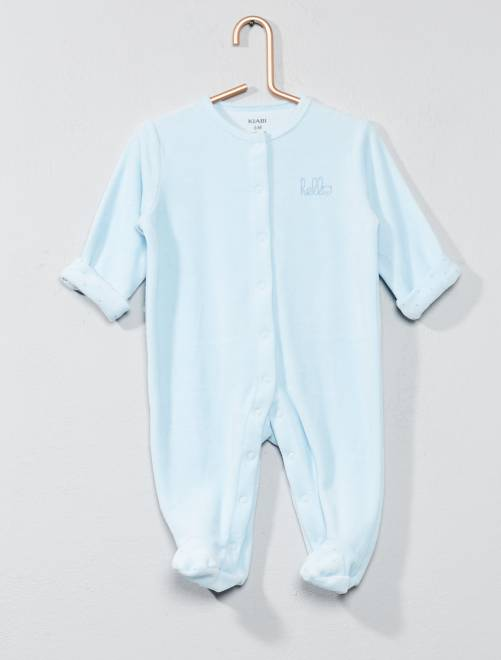 Pyjama en velours 'hello' en coton biologique                                                                             bleu Bébé garçon