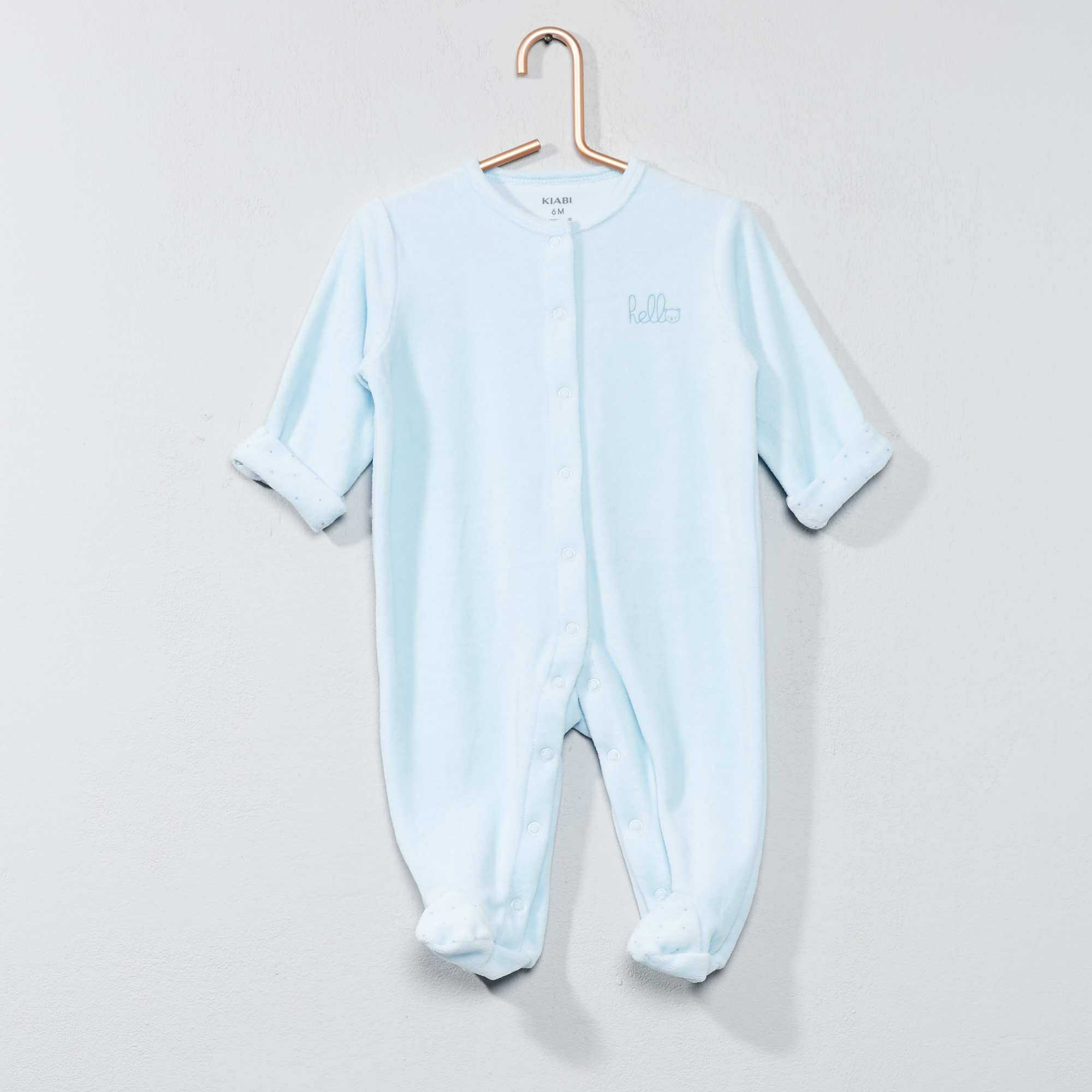 053449e1e37d4 Pyjama en velours  hello  en coton biologique bleu Bébé garçon. Loading zoom