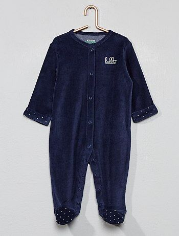 7d41740e95607 Garçon 0-36 mois - Pyjama en velours  hello  en coton biologique -