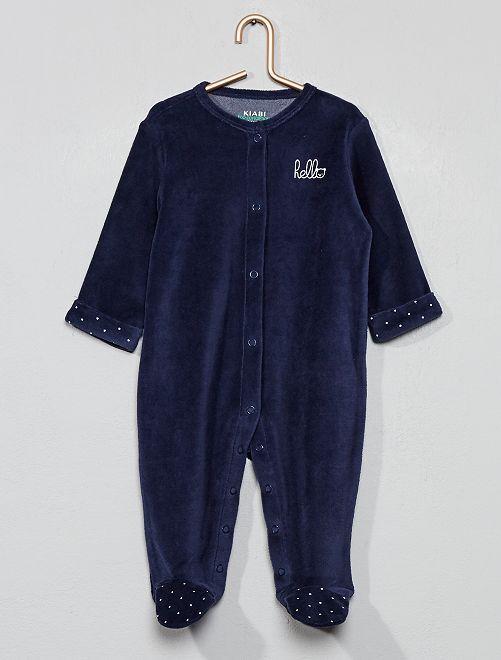 Pyjama en velours 'hello' en coton biologique                                                                             bleu marine Bébé garçon