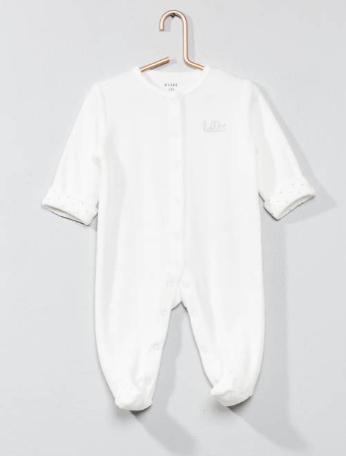 Pyjama en velours 'hello' en coton biologique                                                                             écru Bébé garçon