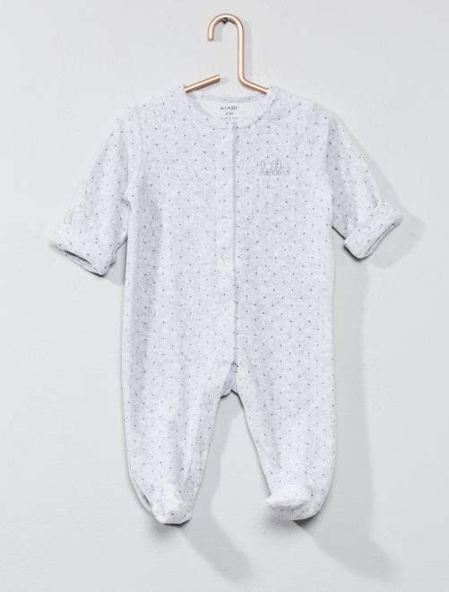 Pyjama en velours 'hello' en coton biologique                                                                             gris Bébé garçon