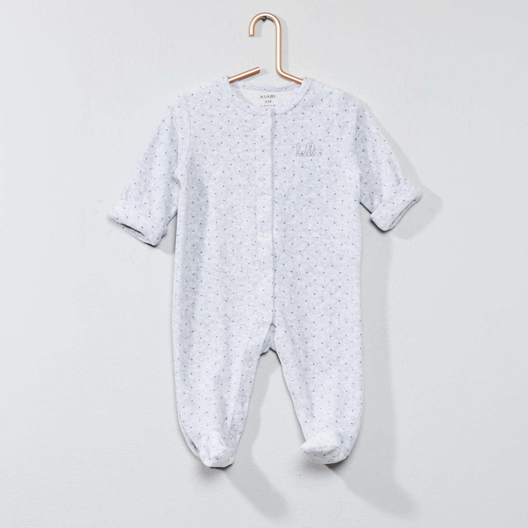 8b5d7d057bc75 Pyjama en velours  hello  en coton biologique gris Bébé garçon. Loading zoom
