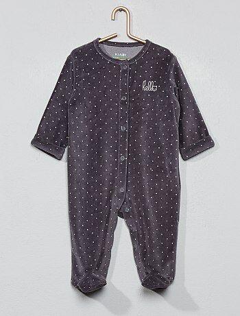 dcc53173061e4 Pyjama en velours  hello  en coton biologique - Kiabi