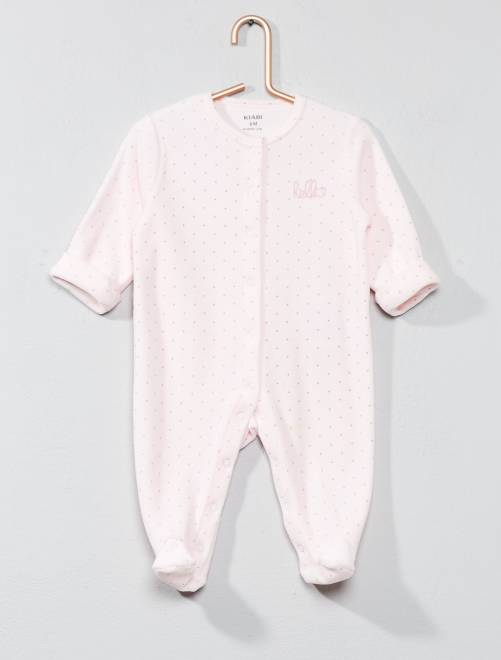 Pyjama en velours 'hello' en coton biologique                                                                             rose pastel pois Bébé garçon