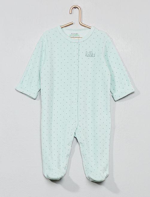 2e4faf186f670 Pyjama en velours  hello  en coton biologique Bébé garçon - vert d ...