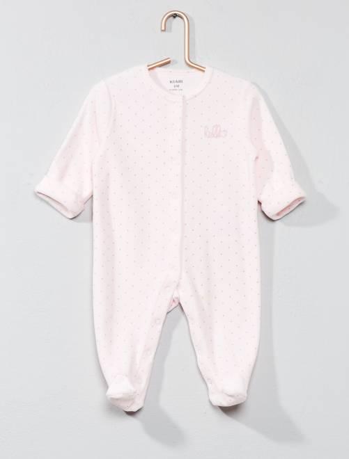 24d1b5779529f Pyjama en velours  hello  Bébé garçon - rose pastel - Kiabi - 8