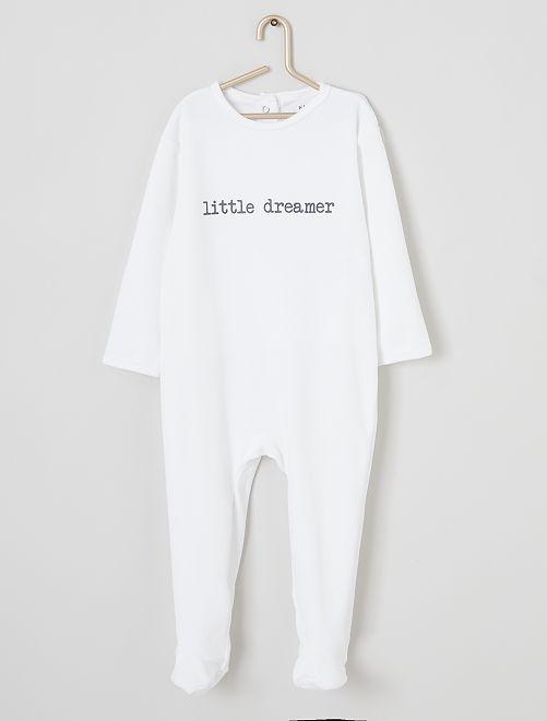 Pyjama en velours imprimé                                                                                         blanc/dreamer