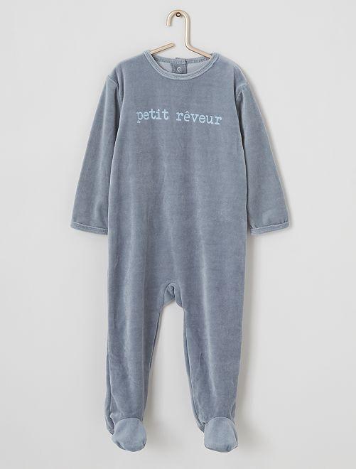 Pyjama en velours imprimé                                                                                         bleu/reveur