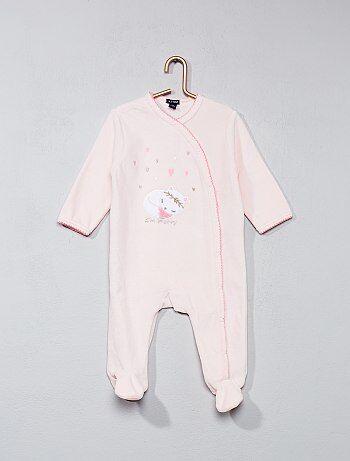291e11472503c Fille 0-36 mois - Pyjama en velours imprimé chat - Kiabi