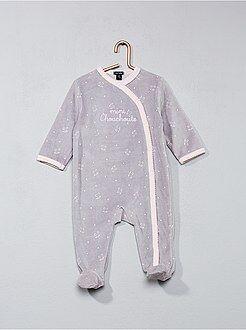 Pyjama, peignoir - Pyjama en velours imprimé 'chouchoute'