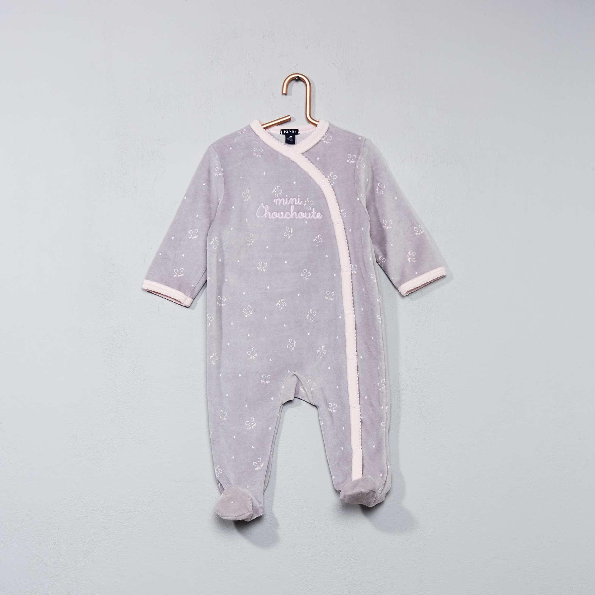 pyjama en velours imprim toile b b fille gris rose. Black Bedroom Furniture Sets. Home Design Ideas