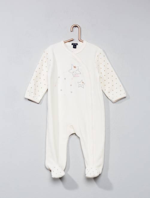 8262ca9699cd4 Pyjama en velours imprimé étoile Bébé fille - écru - Kiabi - 10